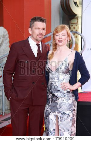 LOS ANGELES - JAN 8:  Ethan Hawke, Sarah Snook at the Ethan Hawke Hand and Foot Print Ceremony at a TCL Chinese Theater on January 8, 2014 in Los Angeles, CA