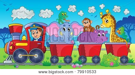 Train with animals in landscape - eps10 vector illustration.
