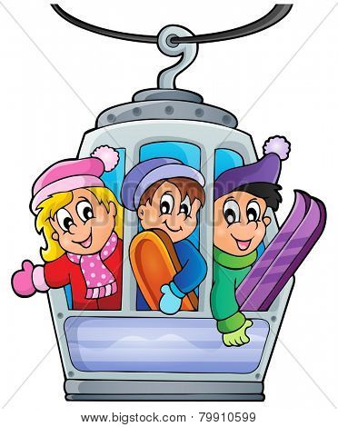 Cable car theme image 1 - eps10 vector illustration.