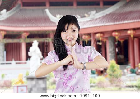 Woman With Gesture Of Congratulation