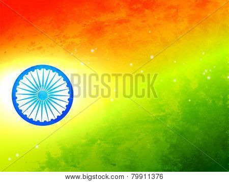 vector flag of India made in tricolor texture and wheel with glow effect
