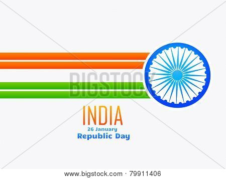 vector Indian republic day design celebrated on 26 January made with line and wheel isolated in white background