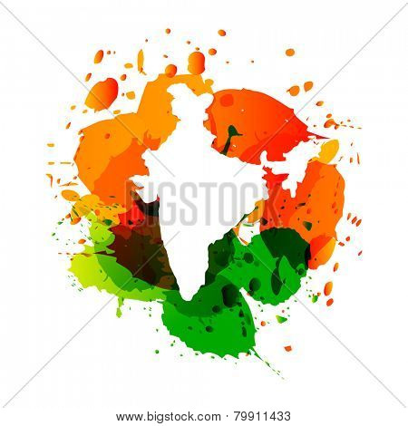 vector map of India in three colors orange and green ink splashes