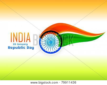 vector Indian republic day flag design celebrated on 26 January made in wave style