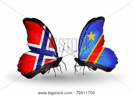 Two Butterflies With Flags On Wings As Symbol Of Relations Norway And Kongo