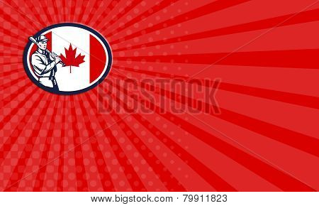 Business Card Canadian Baseball Batter Canada Flag Retro