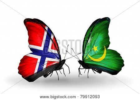 Two Butterflies With Flags On Wings As Symbol Of Relations Norway And Mauritania