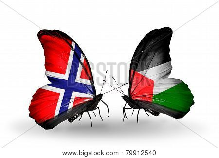 Two Butterflies With Flags On Wings As Symbol Of Relations Norway And Palestine