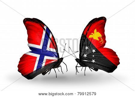 Two Butterflies With Flags On Wings As Symbol Of Relations Norway And Papua New Guinea