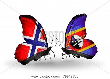 Two Butterflies With Flags On Wings As Symbol Of Relations Norway And Swaziland
