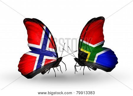 Two Butterflies With Flags On Wings As Symbol Of Relations Norway And South Africa