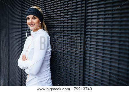 Beautiful Young Woman In Sportswear Looking Happy