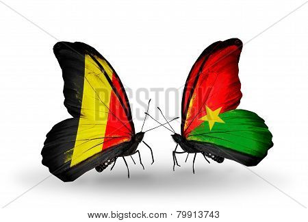 Two Butterflies With Flags On Wings As Symbol Of Relations Belgium And Burkina Faso