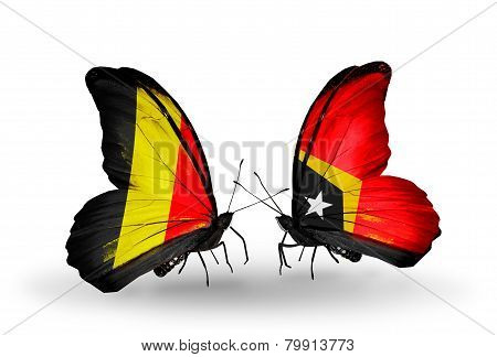 Two Butterflies With Flags On Wings As Symbol Of Relations Belgium And East Timor