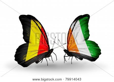 Two Butterflies With Flags On Wings As Symbol Of Relations Belgium And Cote Divoire