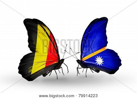 Two Butterflies With Flags On Wings As Symbol Of Relations Belgium And Nauru