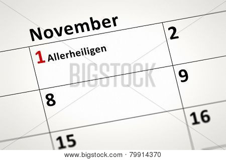 An image of a calendar detail shows November the first All Saints Day in german language