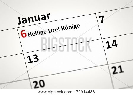 An image of a calendar detail shows January the 6th Three Wise Men in german language