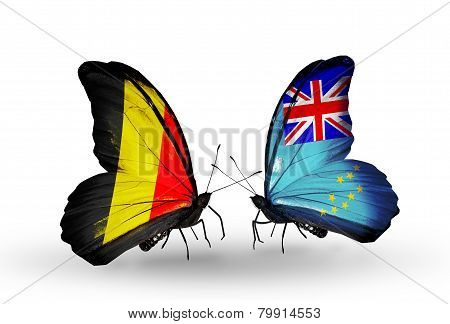 Two Butterflies With Flags On Wings As Symbol Of Relations Belgium And Tuvalu