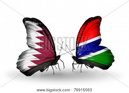 Two Butterflies With Flags On Wings As Symbol Of Relations Qatar And Gambia