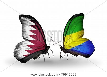 Two Butterflies With Flags On Wings As Symbol Of Relations Qatar And Gabon