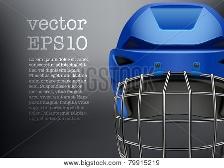 Background of Classic blue Ice Hockey Helmet with visor