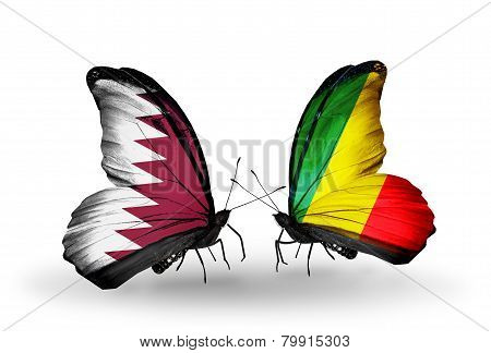 Two Butterflies With Flags On Wings As Symbol Of Relations Qatar And  Kongo