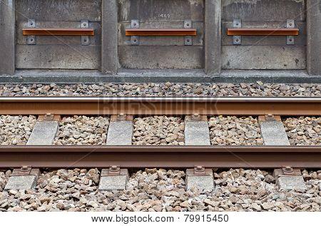 Close - up Railroad at train station