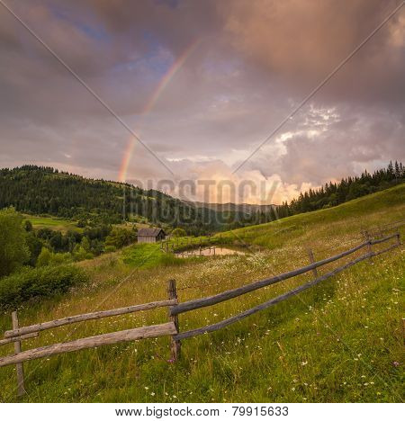 Flowery Meadow In The Mountains On The Background Of Cloudy Sky And Rainbow.