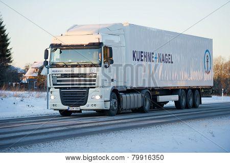 DAF XF truck on motorway in winter