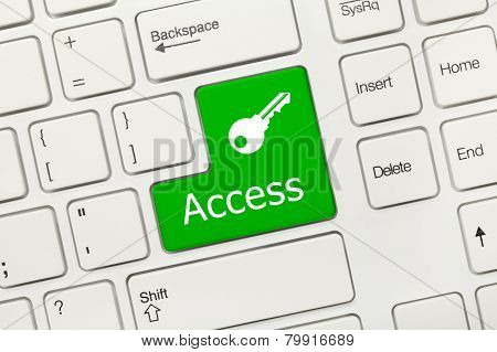 White Conceptual Keyboard - Access (green Button With Key Symbol)