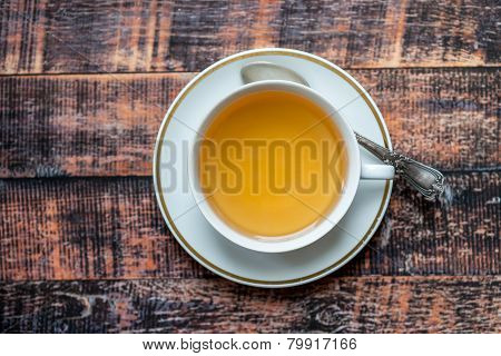 Closeup Of Cup Of Tea On Wooden Table