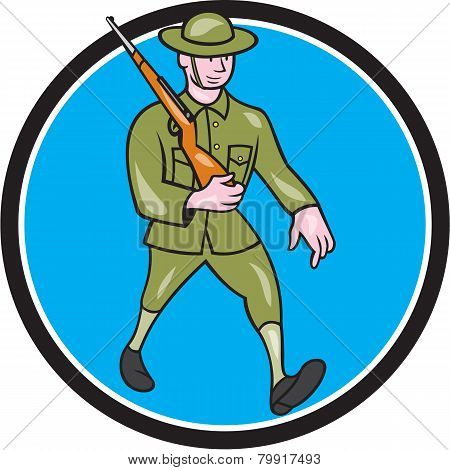 World War One Soldier British Marching Circle Cartoon