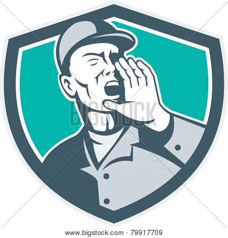 Worker Shouting With Hand In Mouth Shield