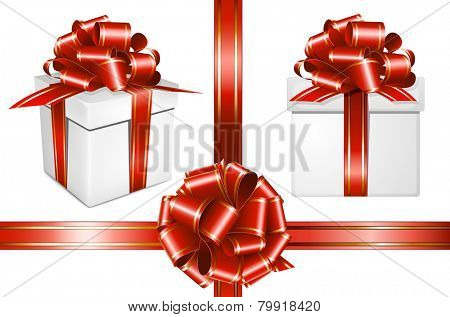 Gift red ribbon with bow and present on white background. Vector illustration.