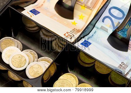 Euro money in the till
