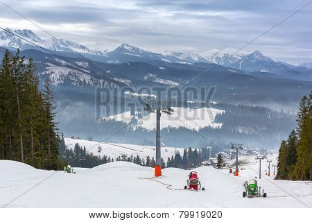 Ski slope in Tatra mountains, Poland