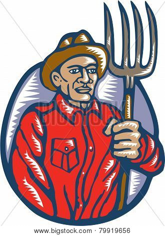 Organic Farmer Holding Pitchfork Woodcut Linocut