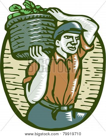 Organic Farmer Basket Crop Woodcut Linocut