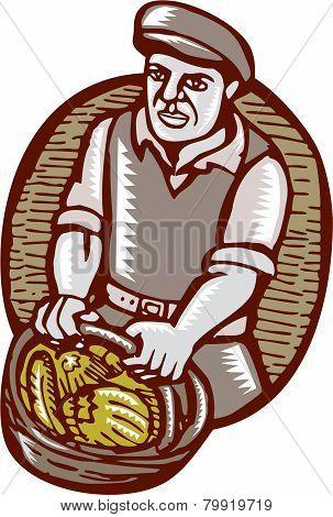Organic Farmer Harvest Basket Woodcut Linocut