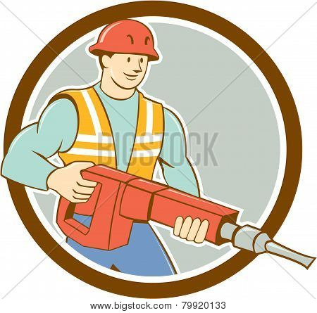 Construction Worker Jackhammer Circle Cartoon