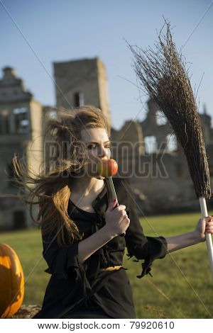 Witch With Pale Skin Eat Apple