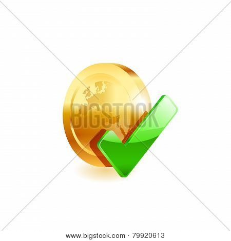 Gold coin and green checkmark.