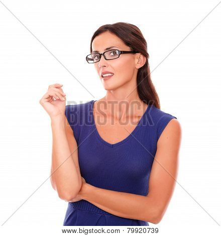 Sexy Lady With Spectacles Looking At You