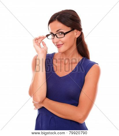Lovely Woman With Spectacles Looking At You