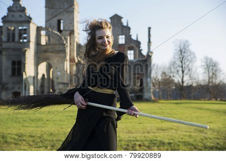 Witch With Pale Skin Play On Broom