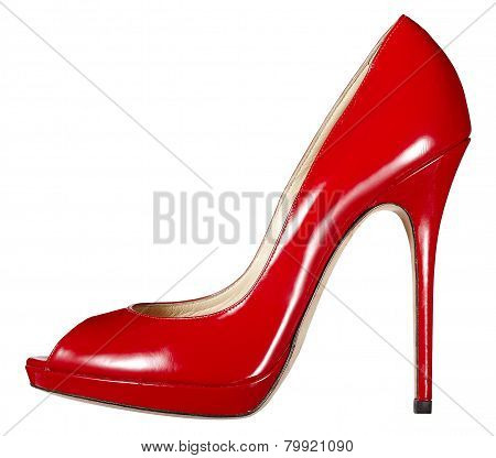 Classic Elegant Red Leather Court Shoe