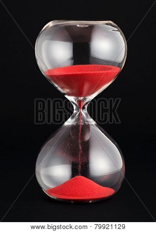 Hourglass With Red Sand Running Through The Bulbs