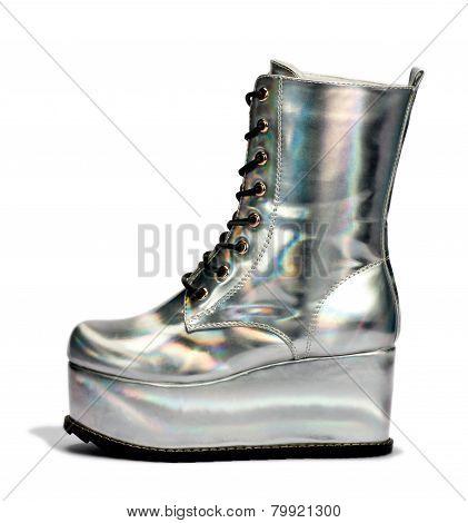 Elegant Silver Alien High Cut Shoes