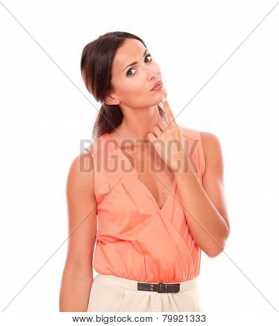 Pretty Woman With Hand On Chin Wondering